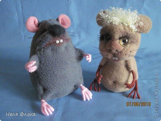 Крыска и хомячок сшиты из флиса, сделаны утяжки, тонированы пастелью. фото 1