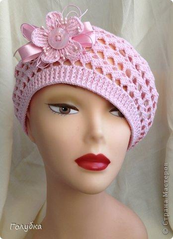 Гардероб Вязание крючком Нежно розовый берет Пряжа фото 1