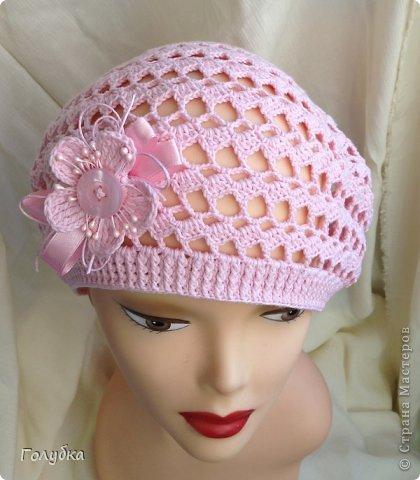 Гардероб Вязание крючком Нежно розовый берет Пряжа фото 4