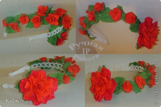 Ободок с цветами из фоамирана фото 1