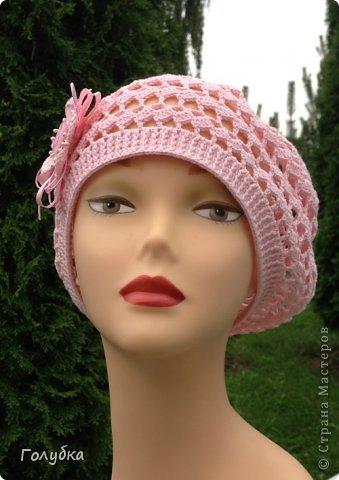 Гардероб Вязание крючком Нежно розовый берет Пряжа фото 3