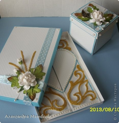 Мастер-класс Открытка Скрапбукинг Свадьба Моделирование конструирование Открытка свадебная в коробочке Бумага Бусинки Ленты фото 1