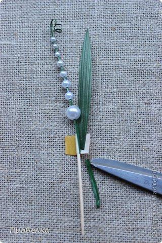 Мастер-класс Поделка изделие Моделирование конструирование Ландышеподобный декор Бусины Листья Скотч фото 18