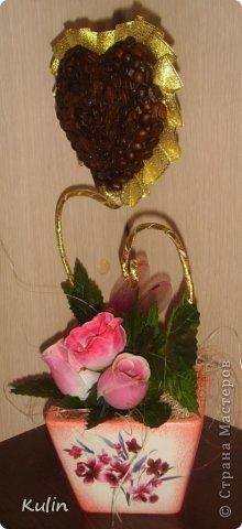 Кофейное сердце с розами-сердечный подарок... фото 2