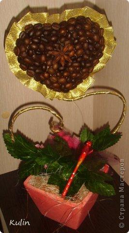 Кофейное сердце с розами-сердечный подарок... фото 3