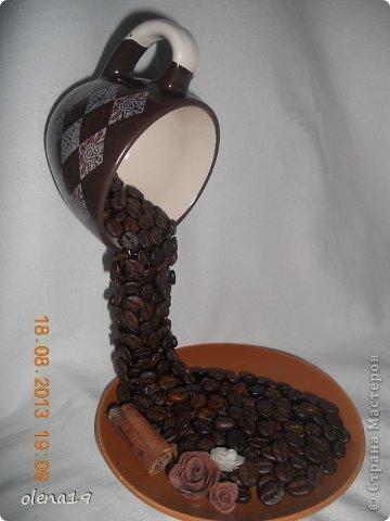 Здравствуйте! И вновь чашка кофейная. Розочки лепила первый раз из хф. фото 1