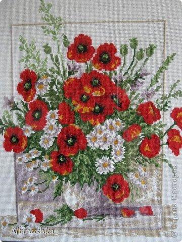Картина панно рисунок Вышивка крестом Вышивка крестиком МАКИ Канва Нитки фото 2