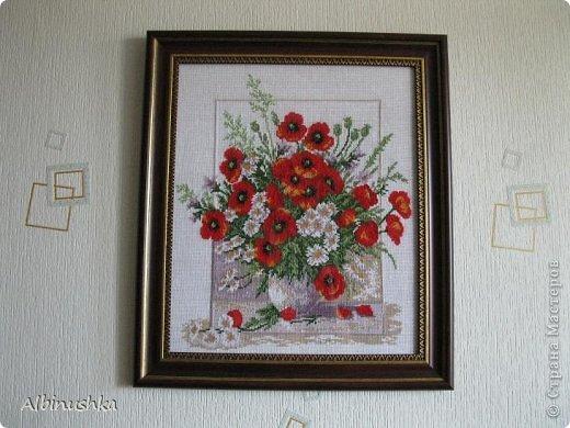 Картина панно рисунок Вышивка крестом Вышивка крестиком МАКИ Канва Нитки фото 1