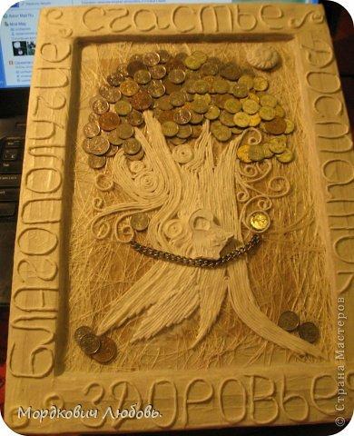 Декор предметов Аппликация из скрученных жгутиков Ассамбляж 'Денежное дерево'-панно Гипс Картон гофрированный Клей Краска Металл Салфетки фото 5