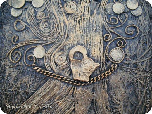 Декор предметов Аппликация из скрученных жгутиков Ассамбляж 'Денежное дерево'-панно Гипс Картон гофрированный Клей Краска Металл Салфетки фото 4