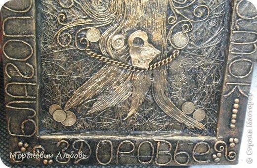 Декор предметов Аппликация из скрученных жгутиков Ассамбляж 'Денежное дерево'-панно Гипс Картон гофрированный Клей Краска Металл Салфетки фото 3
