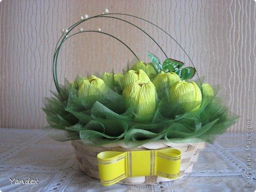 Желтые тюльпаны из гофрированной бумаги своими руками