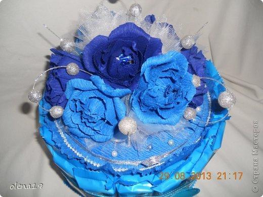 Первый тортик из конфет. Синий цвет мой любимый и поэтому первый тортик именно в синей цветовой гамме. У друзей бирюзовая свадьба - подарок для них.  фото 1