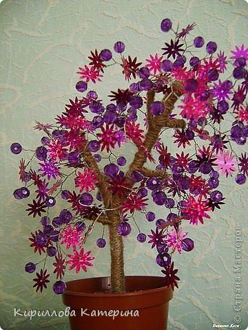 Деревья из пайеток. Плетутся быстро и красиво получается. фото 2