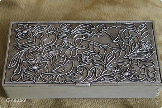Приветствую Вас, гости моей странички. Сегодня у меня шкатулка в серебре. Техника пейп- арт Тани Сорокиной.  фото 11