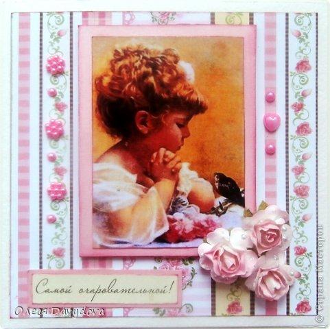 Всем привет! Я с двумя открытками. Очень редко делаю что-то нежное и розовое, предпочитая винтаж и мужскую тему, но на этот раз получилось следующее: фото 2