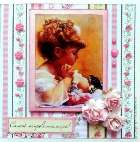 Всем привет! Я с двумя открытками. Очень редко делаю что-то нежное и розовое, предпочитая винтаж и мужскую тему, но на этот раз получилось следующее: фото 12