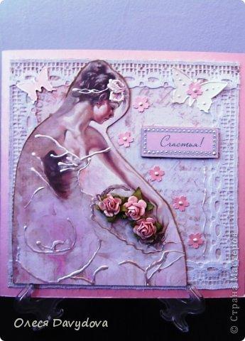 Всем привет! Я с двумя открытками. Очень редко делаю что-то нежное и розовое, предпочитая винтаж и мужскую тему, но на этот раз получилось следующее: фото 11