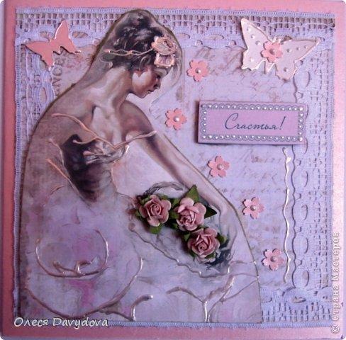 Всем привет! Я с двумя открытками. Очень редко делаю что-то нежное и розовое, предпочитая винтаж и мужскую тему, но на этот раз получилось следующее: фото 1