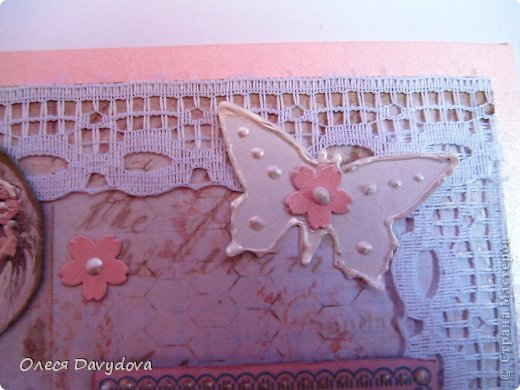 Всем привет! Я с двумя открытками. Очень редко делаю что-то нежное и розовое, предпочитая винтаж и мужскую тему, но на этот раз получилось следующее: фото 5