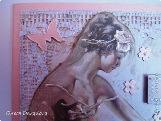 Всем привет! Я с двумя открытками. Очень редко делаю что-то нежное и розовое, предпочитая винтаж и мужскую тему, но на этот раз получилось следующее: фото 6