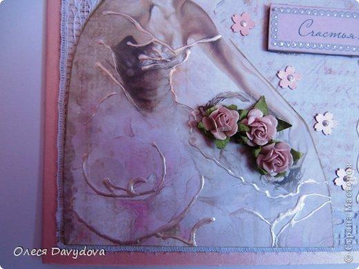 Всем привет! Я с двумя открытками. Очень редко делаю что-то нежное и розовое, предпочитая винтаж и мужскую тему, но на этот раз получилось следующее: фото 7