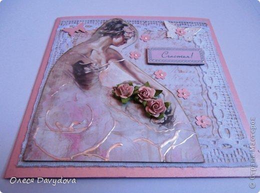 Всем привет! Я с двумя открытками. Очень редко делаю что-то нежное и розовое, предпочитая винтаж и мужскую тему, но на этот раз получилось следующее: фото 10