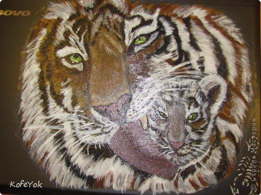 Расписывала  ноут на заказ..просили именно этих тигриков... рисовала акрилом, покрывала вместо лака прозрачным структурным гелем. фото 3