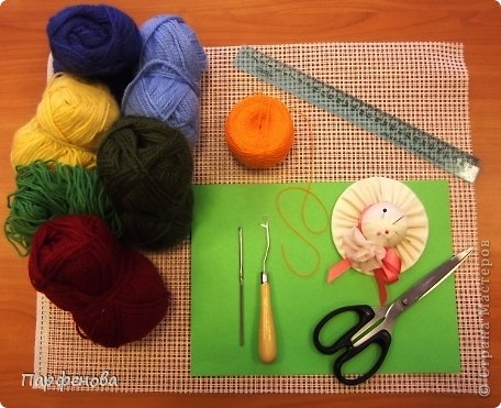 Картина панно рисунок Мастер-класс Вязание крючком Тафтинг Техника узелкового вязания Нитки фото 2