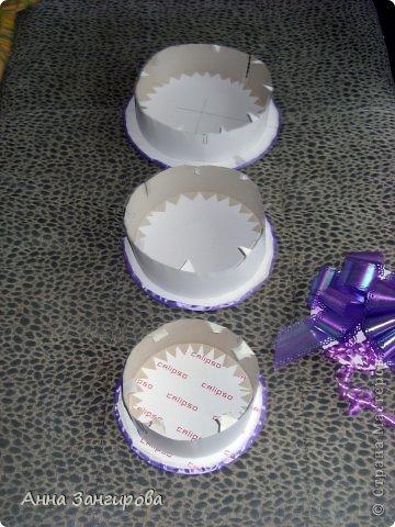 Для изготовления данного торта понадобятся: плотный картон(можно использовать картон от коробок), тонкий картон, скрепки, тонкая атласная лента(около двух метров), большой бант, клей или двусторонний  скотч и деньги(около ста купюр) фото 2