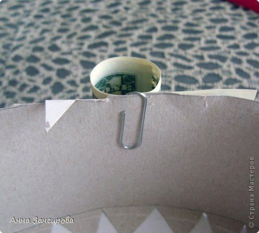 Для изготовления данного торта понадобятся: плотный картон(можно использовать картон от коробок), тонкий картон, скрепки, тонкая атласная лента(около двух метров), большой бант, клей или двусторонний  скотч и деньги(около ста купюр) фото 9