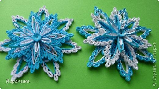 Мастер-класс Поделка изделие Новый год Квиллинг снежинка-магнитик объемная Бумажные полосы фото 1