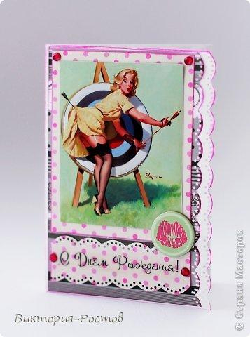 Скрапбукинг открытка пин ап