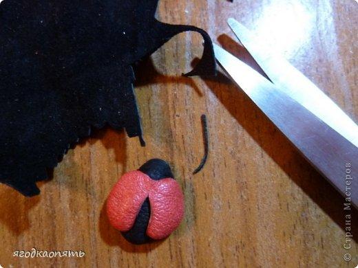 Мастер-класс Аппликация Вырезание МК Божья коровка из кожи Клей Кожа Краска фото 18