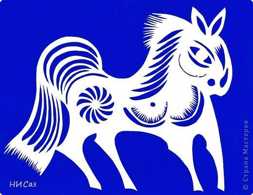 Картина панно рисунок Новый год Вырезание К году Лошади Бумага фото 4