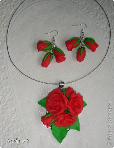 Подвеска и сережки. Розы из запекаемой полимерной глины. фото 2