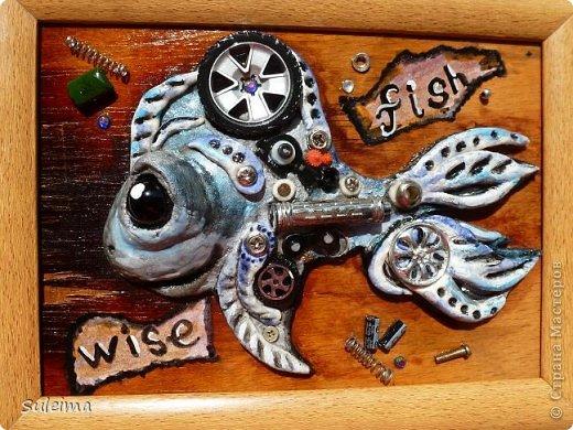 Картина панно рисунок Мастер-класс Лепка Стимпанк Рыбка  соленое тесто Материал бросовый Тесто соленое фото 1