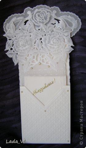 Открытка-конверт в технике Пергамано (Парчмент) – Розы и кружева.   фото 1