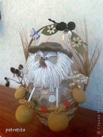 Куклы Мастер-класс Домовенок на новоселье Материал природный Мешковина Нитки Семена фото 18