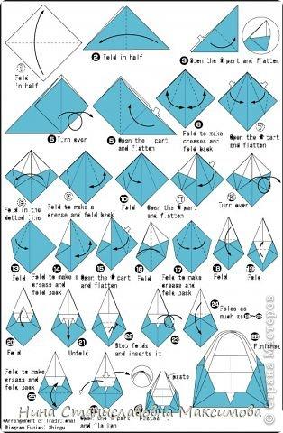 Аист и младенец собраны из треугольных модулей (смотри МК Татьяны Просняковой http://stranamasterov.ru/technic/origami_module). Для туловища, хвоста, крыльев, головы и клюва использовались модули, сложенные из 1/4 листа А4: белых - 93 шт., черных - 46 шт.,оранжевых - 1 шт.. Возьмите лист сложите по вертикали - разверните, потом по горизонтали - разверните. Линии сгиба разделят лист на равные 4 части. Разрежьте и складывайте модули. фото 35