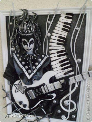 Картина панно рисунок Мастер-класс День рождения Ассамбляж Картины из кожи Гитара 1 и Гитара 2  Кожа фото 9