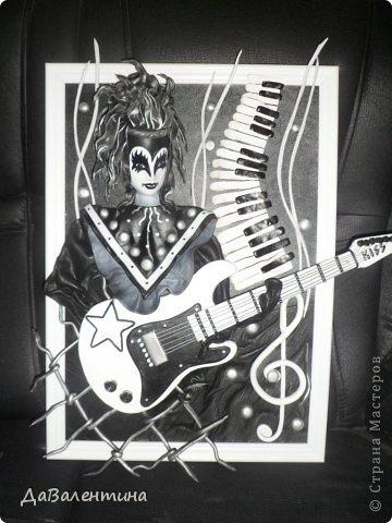 Картина панно рисунок Мастер-класс День рождения Ассамбляж Картины из кожи Гитара 1 и Гитара 2  Кожа фото 10