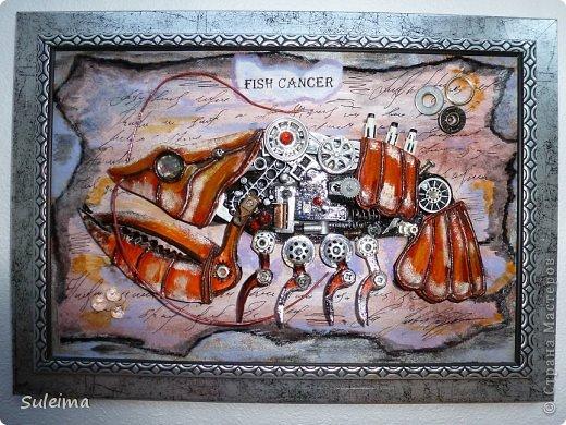 Картина панно рисунок Аппликация Ассамбляж Стимпанк биомеханика  Рак Картон Материал бросовый фото 2
