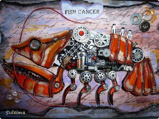 Картина панно рисунок Аппликация Ассамбляж Стимпанк биомеханика  Рак Картон Материал бросовый фото 1