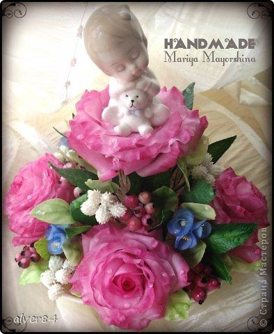 Здравствуй, Страна! Хочу представить вниманию мою новую работу из полимерной глины Thai Clay. Работа сделана на заказ для молодой мамочки в связи с рождением ребеночка. По-моему получилось мило))) фото 1