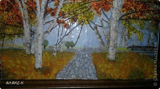 Картина панно рисунок Праздник осени Ассамбляж Осень в 3-Д Помогите пожалуйста нужна Ваша помощь Бисер Дерево фото 2.