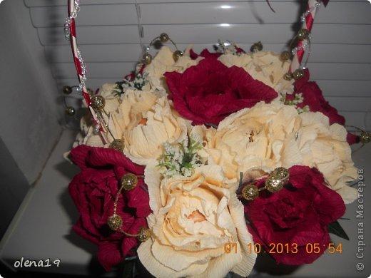 Здравствуйте! Вот и я с новыми работами. Первая - корзинка с цветочками на день рождения очень хорошей девушки. Она замечательный человек!!! Хотелось, чтобы ей улыбнулось счастье!!! фото 2