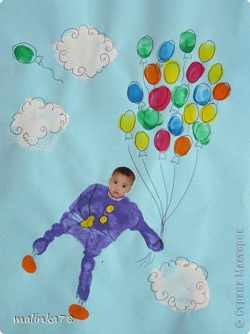 Вот такие рисунки у нас получились с ребятами с помощью отпечатков ладошек и пальчиков фото 6