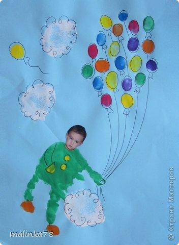 Вот такие рисунки у нас получились с ребятами с помощью отпечатков ладошек и пальчиков фото 7