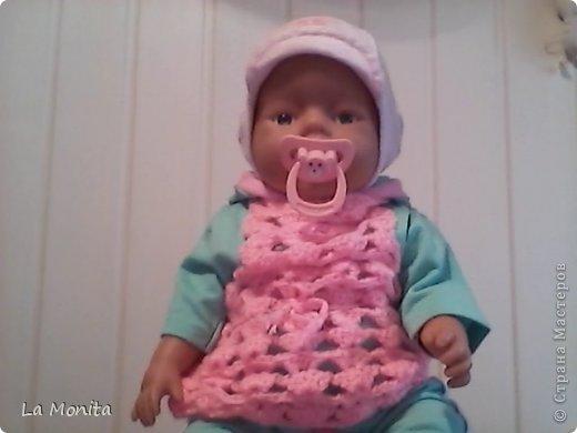 Поделка изделие Вязание крючком Вязание спицами Вязаная туничка шарфик шапка и пинетки для куклы Baby Born